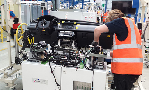 electrical test system for Jaguar instrument panel