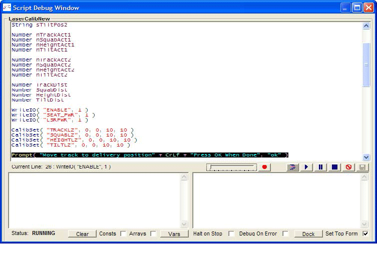 Script debugging tool process control software