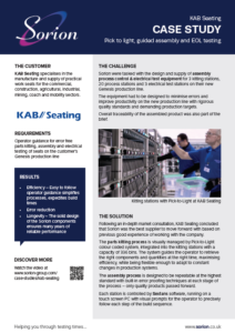 KAB Seating case study - Pick to light, guided assembly, end of line testing